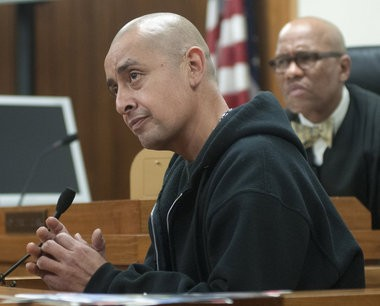 Pedro Delgado testifies during Michael D. Lawrence's preliminary hearing before Saginaw County District Judge Terry L. Clark.