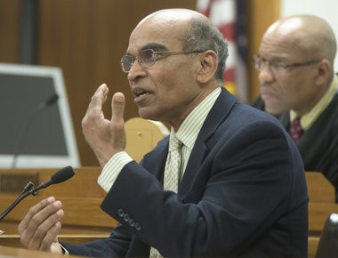Saginaw County Medical Examiner Kanu Virani testifies about Elijah Dillard's injuries during the April 9, 2014, preliminary hearing for Aki C. Dillard in front of Saginaw County District Judge Terry L. Clark.