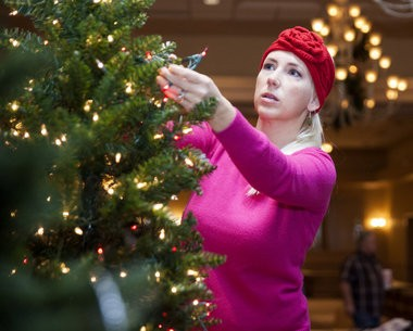 Shari Smolchuck-Flora decorates her tree for the annual Festival of Trees on Wednesday, Nov. 12, 2014, at Apple Mountain, 4519 N. River in Freeland. The trees will be auctioned off and the money will support the Junior League of Saginaw Valley.