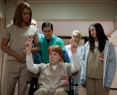 """From left, Laverne Cox, Beth Fowler and Kimiko Glenn in a scene from Netflix's """"Orange is the New Black"""" Season 2. Beth Fowler plays the character Sister Jane Ingalls, who is based on Sister Ardeth Platte."""