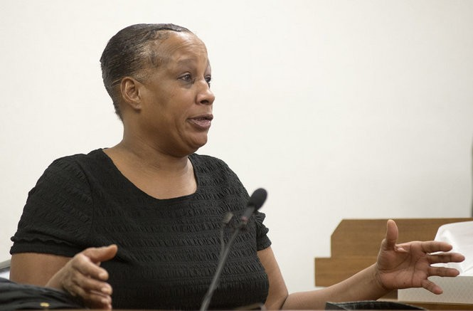 Doris Furline-Walker, mother of defendant Terrance A. Furline, testifies during the preliminary hearing for her son and Alvin B. Jenkins Sr. in front of Saginaw County District Judge M.T. Thompson on Jan. 12, 2016.