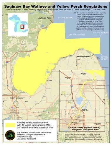 A map from the Michigan Department of Natural Resources shows the MH-4 management unit (the Saginaw Bay) and the section of the Saginaw River on which new regulations for walleye and perch fishing were implemented in 2015.