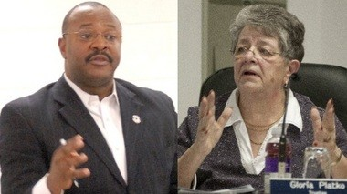 At left is Buena Vista Township Supervisor Dwayne Parker. Township Clerk Gloria Platko is on the right.