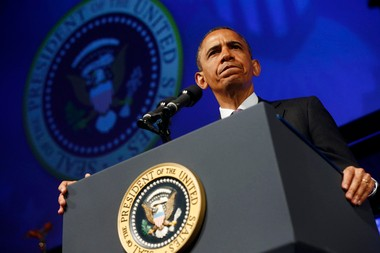 President Barack Obama pauses while speaking at the 2013 Planned Parenthood National Conference in Washington, Friday, April 26, 2013. (AP Photo/Charles Dharapak)
