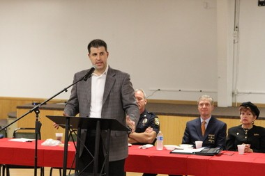 Nicholas Singelis II, the former chief of staff for Elf Khurafeh Shrine Temple, speaks during a 2012 memorial luncheon for area first responders held at Circus Park in Vienna Township.