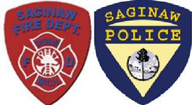 The patches for Saginaw's police and fire departments.