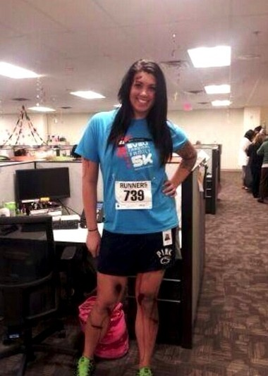 A photograph posted to Alicia Lynch's Twitter account, @SomeSkankinMI, shows the Michigan woman wearing an SVSU race shirt with fake scars on her legs. The photograph has gained national attention and led to death threats following the costume tweet.