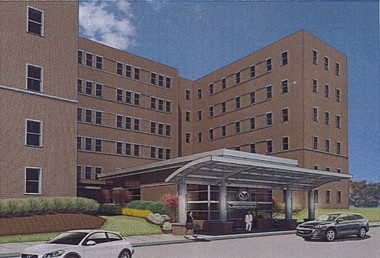 A engineer's rendering shows the plans for the new front entrance at the Aleda E. Lutz VA Medical Center, 1500 Weiss in Saginaw.