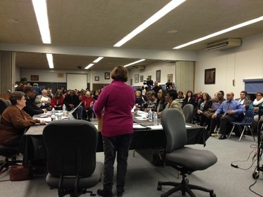 Beverly Yanca, Saginaw School District Board of Education president, speaks to more than 100 people who attended a planning meeting regarding the future of the district. Superintendent Carlton Jenkins presented a plan that includes closing Saginaw High School.