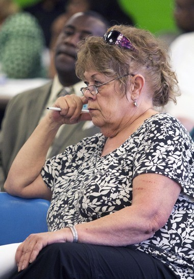 Barbara Amon-Weigandt, Buena Vista alumnus and former board member, listens during a Buena Vista School District Board of Education meeting at Buena Vista High School where the district's financial crisis was the main topic of discussion on May 9, 2013.