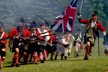 Kilt-wearing Scots will charge colonial soldiers during the July 19-20 Cass River Colonial Encampment in Frankenmuth.