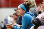 Cancer survivor Mary Juengel watches her sister, Bullock Creek girls basketball star Ellie Juengel, play against Frankenmuth, Dec. 5, 2014.