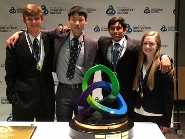 Ben Morgan, Austen Zhu, Varun Shanker and Kelly DeRees took home the top prize for the A.H. Nickless Innovation Award at the Ott Auditorium at Saginaw Valley State University Saturday, April 11. (Mike Koury | MLive.com)