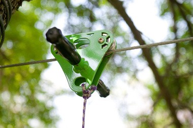 The hardware used in a zip line.