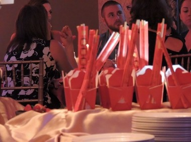"Miniature cartons of Thai salad, complete with chopsticks, were just part of the Bountiful Buffet awaiting guests Sept. 25 at the FNI gala ""Field of Hope, Sounds of the Valley"" at the Temple Theatre."
