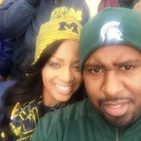 Terrence and wife Cherrell Shells during the Michigan State University and University of Michigan rivalry football game on Oct. 17, 2015.