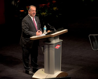 Andrew N. Liveris, chairman and CEO of The Dow Chemical Co., speaks during the company's 119th annual meeting of stockholders Thursday, May 12, 2016, at the Midland Center for the Arts. (Courtesy | The Dow Chemical Co.)