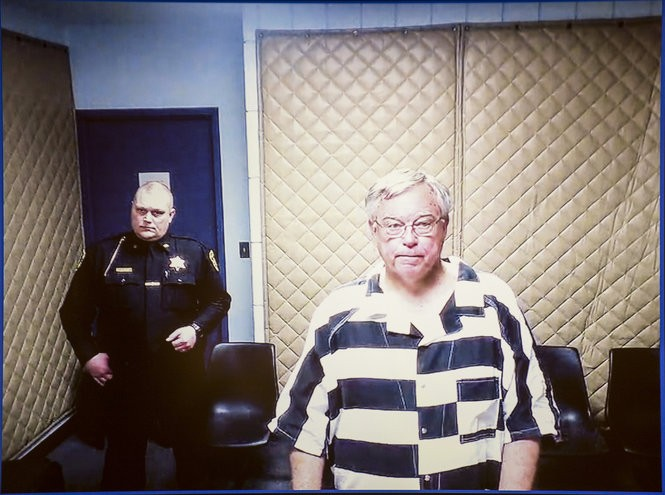 Robert DeLand is arraigned on charges of attempted second-degree criminal sexual conduct via video from the Saginaw County Jail in the courtroom of Saginaw County District Judge M. Randall Jurrens in Saginaw on Feb. 26, 2018.