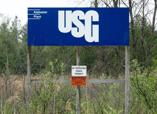 A sign signaling property of U.S. Gypsum in Alabaster Township.