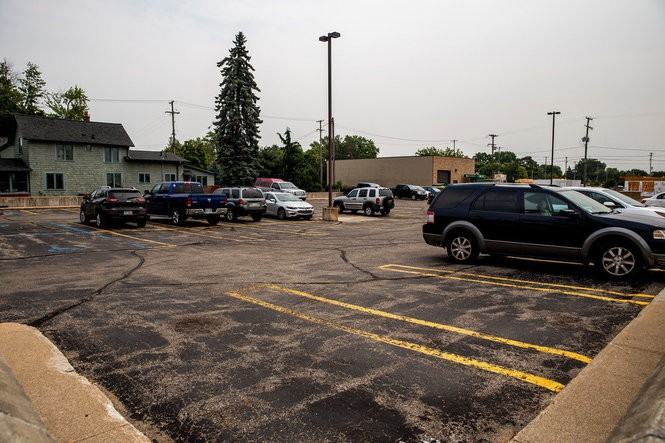 A parking lot where the new Delta College campus will be at the corner of Ellsworth and Townsend on Wednesday, Aug. 15, 2018.