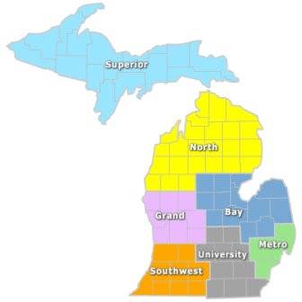 "A map shows the seven different regions MDOT operates from in the state, including the 13-county ""Bay"" region that includes Saginaw, Bay, Midland and Genesee counties as well as all of the Thumb."