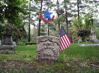 Mathias Herold's grave marker makes for a historic highlight at Holy Cross Lutheran Cemetery in Saginaw Township.