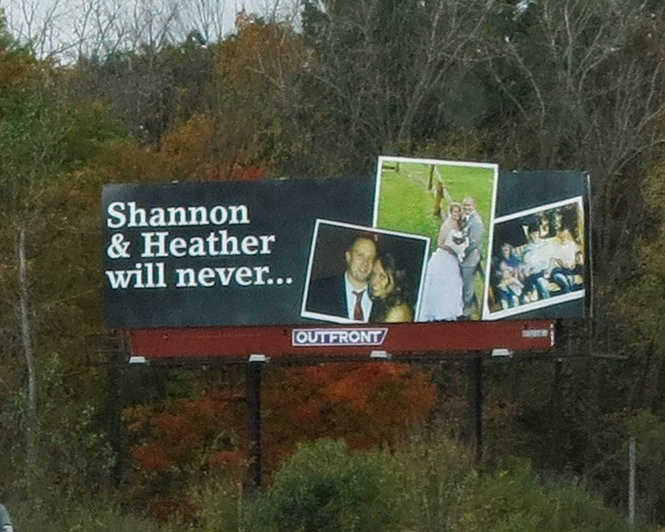 The billboard facing northbound lanes of Interstate 75 at the 140 mile marker remind drivers of how a drunken driver's decision to get behind the wheel means sisters Shannon and Heather Mayes, killed Oct. 15, 2000, will never experience the milestones their siblings have.