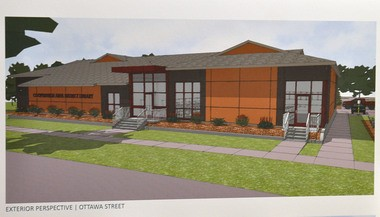 An artist's rendering shows a view of a remodeled Coopersville District Library building.
