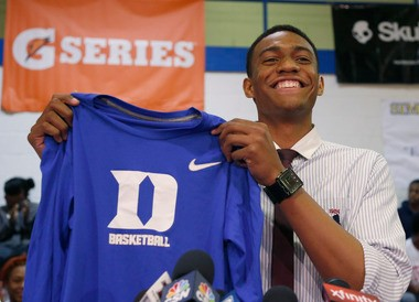 Chicago's Simeon Career Academy's Jabari Parker announces he will be attending Duke during a news conference at his high school Thursday, Dec. 20, 2012, in Chicago.