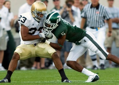 Michigan State cornerback Johnny Adams competed at the NFL Combine this week.