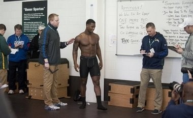 Former Michigan State tailback Le'Veon Bell prepares for official weigh-in at the Spartans NFL Pro Day combine on Wednesday at the Duffy Daugherty Football Building.