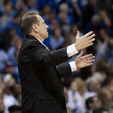 Michigan State Tom Izzo reacts to a call in Friday night's Sweet 16 game against Duke at Lucas Oil Stadium.
