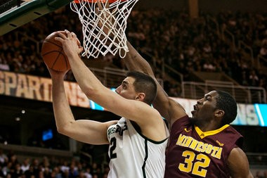 Michigan State redshirt sophomore Alex Gauna shows his skills against Minnesota. Gauna played his Big Ten-high of 11 minutes in the 61-50 win over the Gophers on Feb. 6 in East Lansing.