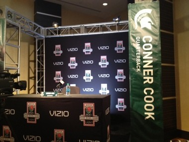 Michigan State quarterback Connor Cook took note that he's not a household name quite yet, as his name was misspelled on a banner at the Rose Bowl Media Day on Sunday.