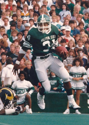 Former Michigan State tailback Lorenzo White ranks as the Spartans' all-time leading rusher with a school-record 4,887 yards on a school-record 1,082 carries during his career from 1984 through 1987. Among the other records White holds are most yards in a season (2,066, 1985) and 43 career rushing touchdowns.