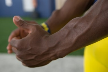 Michigan wide receiver Amara Darboh displays his unique muscle structure during Michigan Football Media Day on Sunday, August 10, 2014.