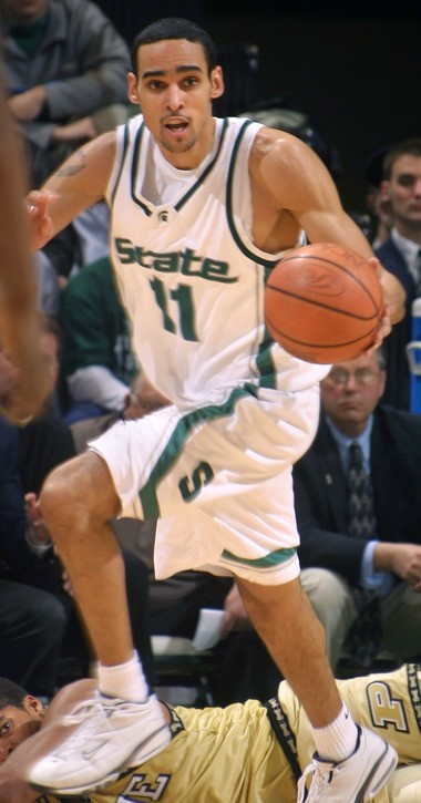 Michigan State's David Thomas gets a steal and starts the fast break against Purdue Feb. 4, 2001, in East Lansing, Mich.