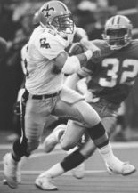 Muskegon native Bobby Morse returns a kickoff 99 yards for a touchdown against the Detroit Lions in 1989.