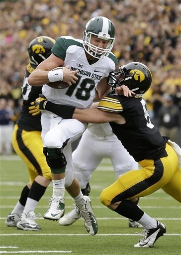 In addition to his 688 yards passing this season, Michigan State quarterback Connor Cook has 95 yards rushing on 25 attempts.