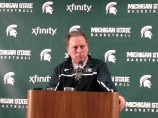 Michigan State coach Tom Izzo adresses the media at his Monday press conference in East Lansing on Monday.