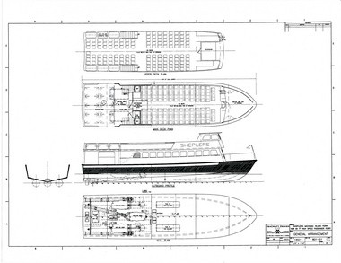 "Blueprint for the ""Miss Margy,"" the new Shepler's Ferry boat."