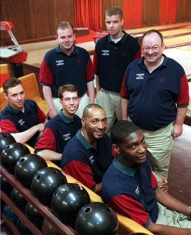 The Saginaw Valley State University bowling team of 1997 included, seated from left, Carey Bock, Robert Eddy II, Al Campbell and Lonnie Jones. Standing from left are, Jason Lewis, Brian Waliczek and Dan Dorion.