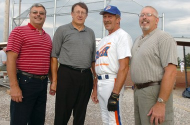 Former members of the Auburn Fertilizer fastpitch softball team being inducted in the Bay County Sports Hall of Fame in 2006 (from left) Bob Eastman, Vaughn Begick, Duaine Vogel and Gary Roth. (Silas Crews | Times Photo)