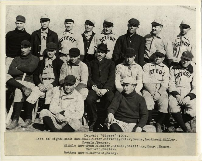 c3d04f9d Group portrait of the first Detroit Tigers team ever in 1901. Typed on  label on front: