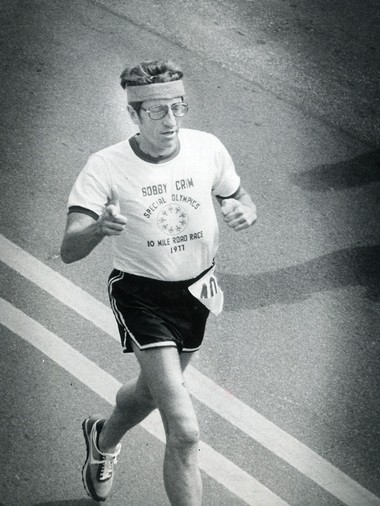 Race founder Bobby Crim participates in the Bobby Crim 10-mile road race in 1977.