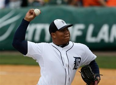 Detroit Tigers relief pitcher Bruce Rondon throws during the ninth inning of a game against the New York Mets on Monday in Lakeland, Fla.