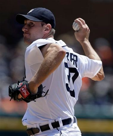 Detroit Tigers starting pitcher Max Scherzer throws during the first inning against the Minnesota Twins in Detroit on May 26.