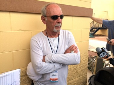 Jim Leyland, pictured talking to media members early this spring, once accidentally put a steal sign on and got a runner thrown out while managing the Pittsburgh Pirates.