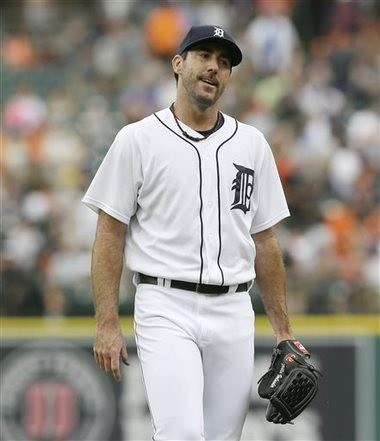 Detroit Tigers starting pitcher Justin Verlander reacts after giving up his second home run during the first inning against the Oakland Athletics in Detroit on Wednesday.
