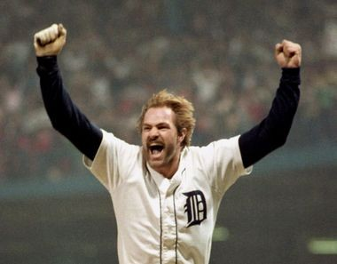 Kirk Gibson celebrates his three-run homer in Game 5 of the 1984 World Series.